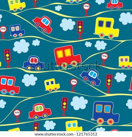 seamless kids pattern with cars
