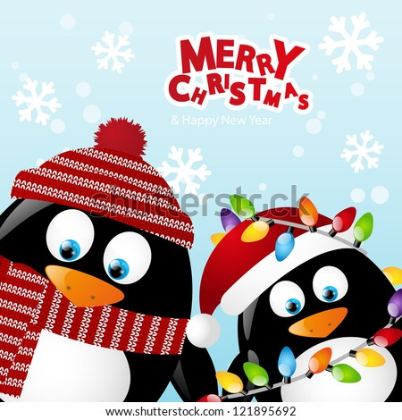 merry christmas card with two