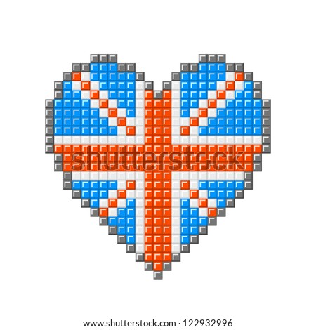 british love heart in retro