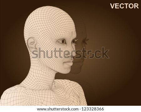 vector 3d woman or human head