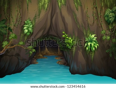 illustration of a cave and