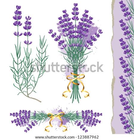 great set with lavender flowers