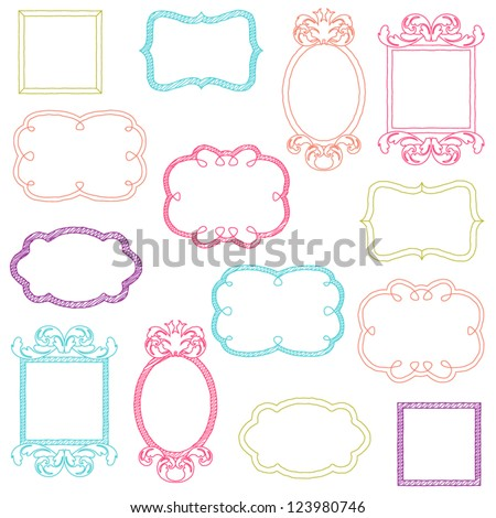 colorful vector doodle frames