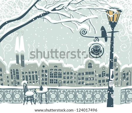 winter cityscape with a lantern