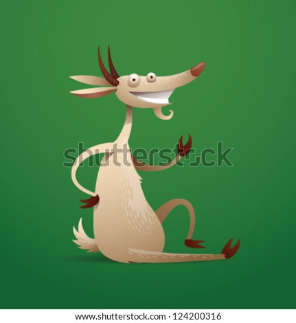funny cartoon goat 07  vector