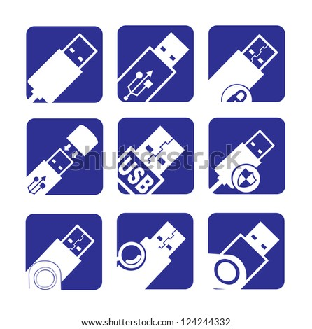 usb icons over white and blue