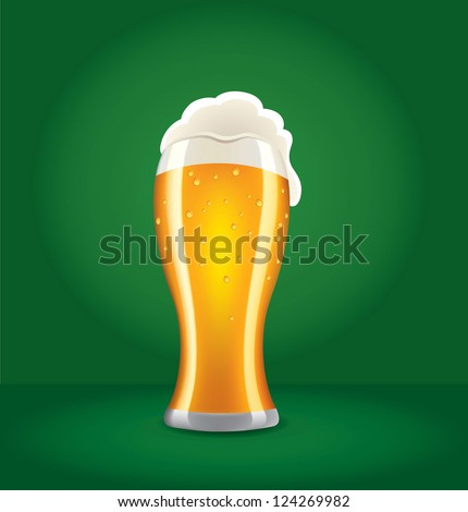 beer on green background