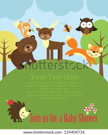 baby shower card design forest
