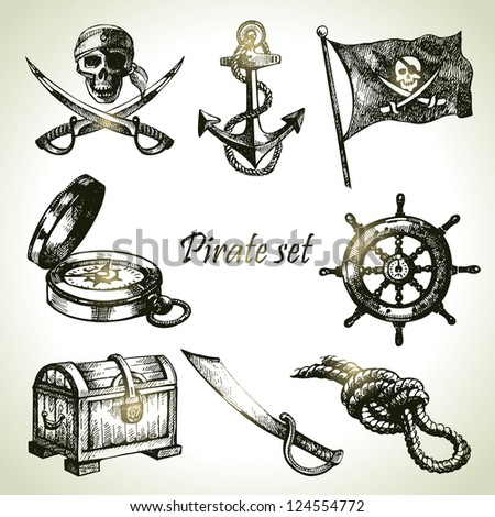 pirates set hand drawn
