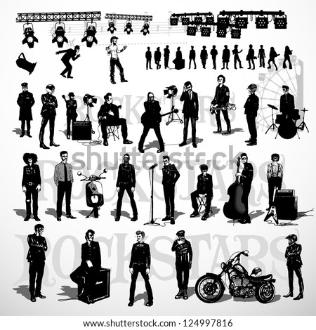 vector set of rock stars