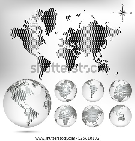vector dotted map and globe of