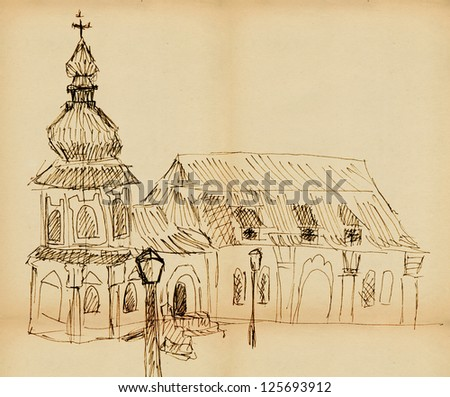 a sketch of the old church