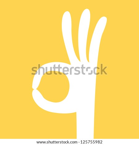 ok hand sign cartoon card