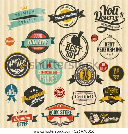 set of  vector retro stickers