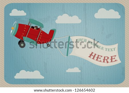 retro airplane in the sky with