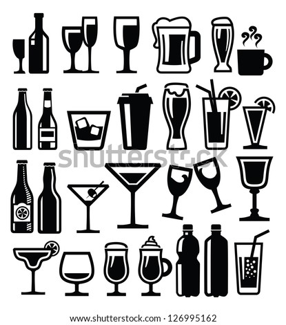 vector black beverages icon set