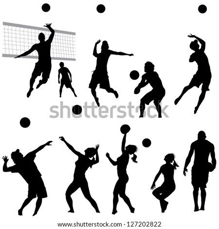 various vector beach volleyball