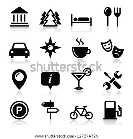 travel tourism icons set