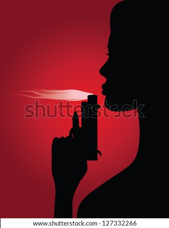 woman blowing smoke from gun