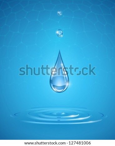 drops falling into pure water