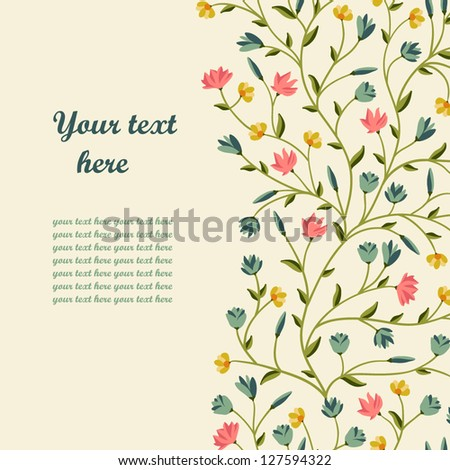 greeting floral card place for