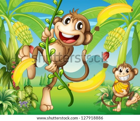 illustration of two monkeys