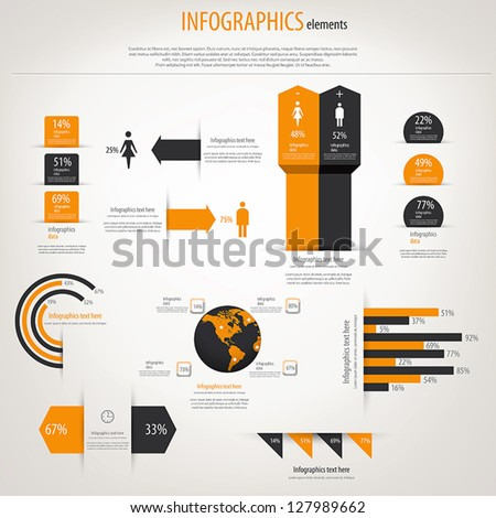 retro infographics set world