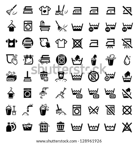 64 laundry and washing icons