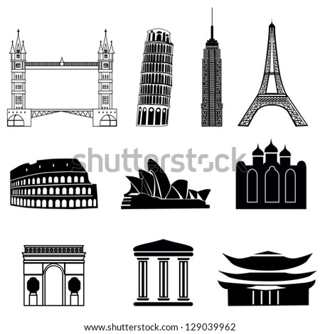 set of icons  buildings