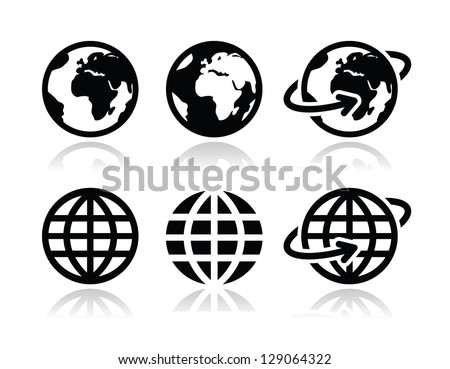 globe earth vector icons set