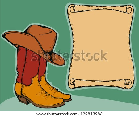 western background with cowboy boots and hat.Vector color illustration ...