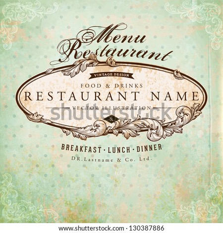 restaurant label design with