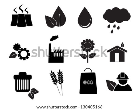 isolated eco icon set on white