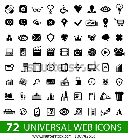 set of 72 universal web icons