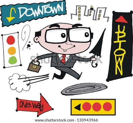 vector cartoon of business