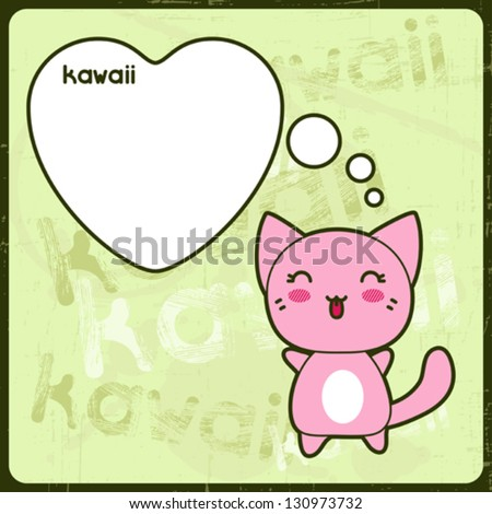 kawaii card with cute cat on