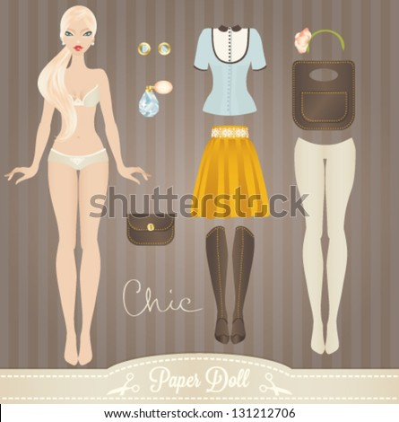 cute dress up paper doll body