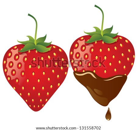 strawberry in chocolate eps10