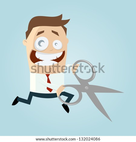 cartoon man with scissors