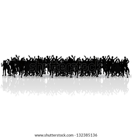 black silhouettes crowd vector
