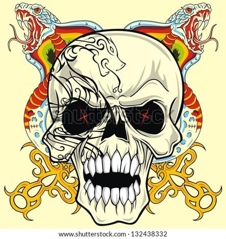 snake and skull vector