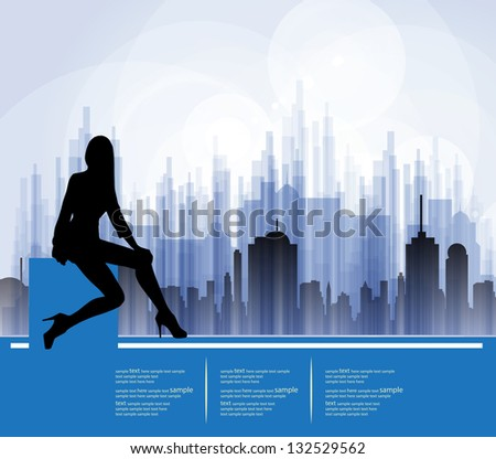 silhouette of girl  vector