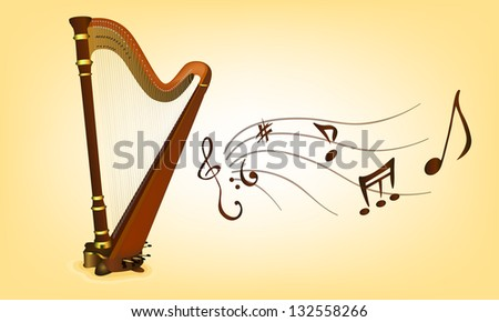 abstract vector harp