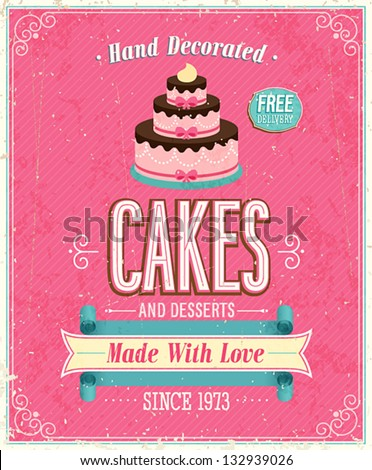 vintage cakes poster vector