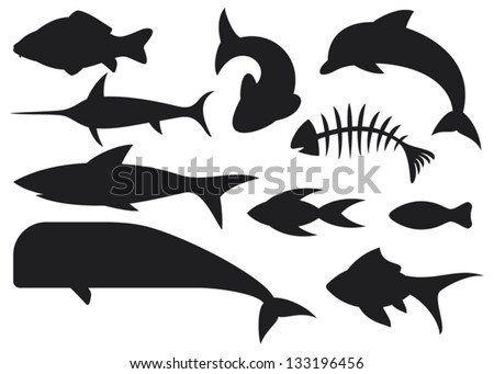fish icons set  dolphin  fish