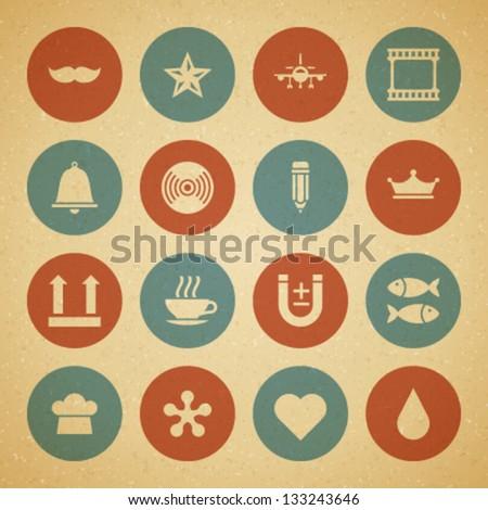 vintage retro icons set vector