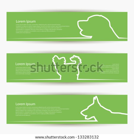 dog banners   vector