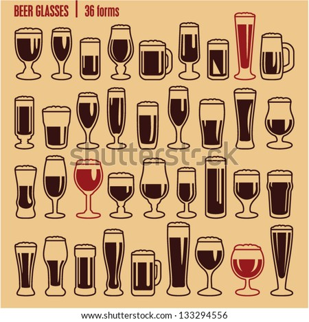 glasses icons set beer glass
