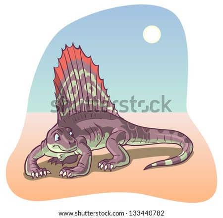 a dimetrodon dinosaur under a