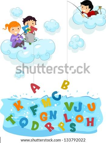 illustration of kids on clouds